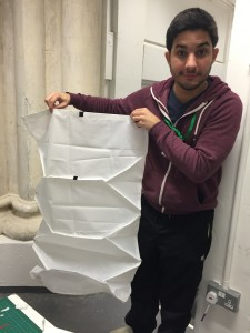 Guillherme and Vahakn (not in picture) created a prototype for a foldable waterproof leg cover, easy to fold and unfold.